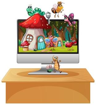コンピュータの背景画面で幸せな昆虫