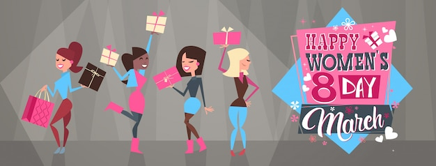 Happy intenational women day horizontal banner group of diverse girls 8 march holiday celebration