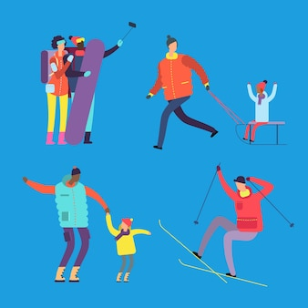 幸せな国際的な家族や友人は、ウィンタースポーツのイラストに取り組んでいます。スポーツ家族と幸せな女性と子供を持つ男