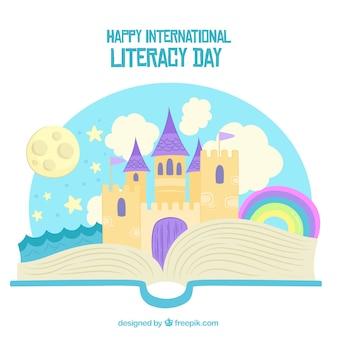Happy international literacy background
