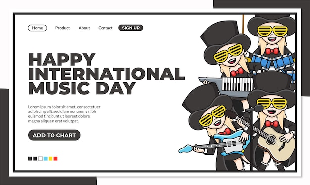 Happy international music day landing page template with cute cartoon character of beaver