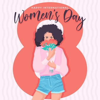 행복한 국제 여성의 날, 3 월 8 일, 꽃을 들고있는 아프리카 여성. 플랫 만화에서 손 그림