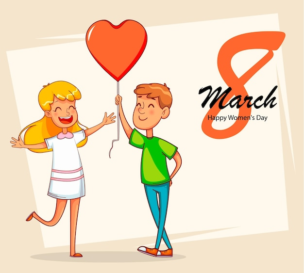 Happy international women's day. boy gives balloon in shape of a heart to his girlfriend