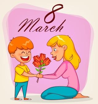 행복한 국제 여성의 날. 그의 어머니에게 튤립 꽃다발을주는 재미있는 소년