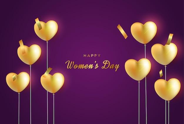 Поздравительные открытки с международным женским днем с реалистичными сердечками