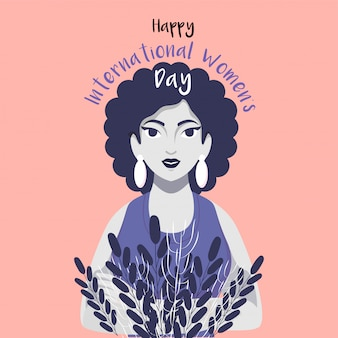 Happy international women's day text with young girl character and leaves on peach pink background.