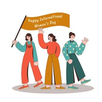 해피 국제 여성의 날 빈티지 스타일 일러스트