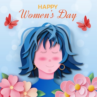 Happy international women's day with girl and flowers in paper style