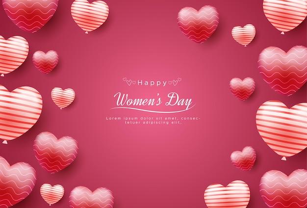 愛の風船で幸せな国際女性の日