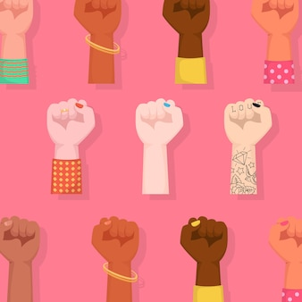 Happy international women's day. woman fists raised embracing women power.