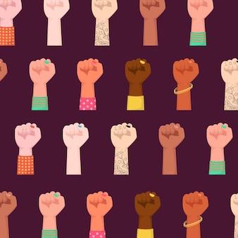 행복한 국제 여성의 날. 여자 주먹 제기 포용 여성 파워.