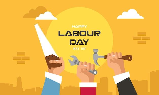 幸せな国際労働者の労働日