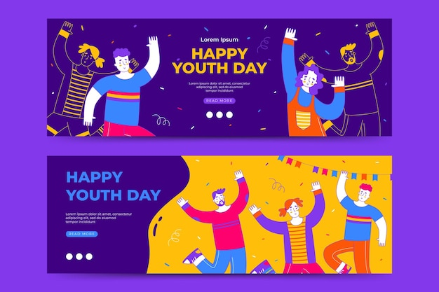 Happy international youth day banner template