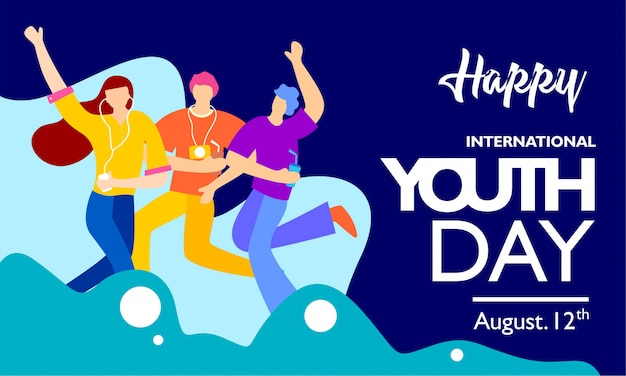 Happy international youth day banner