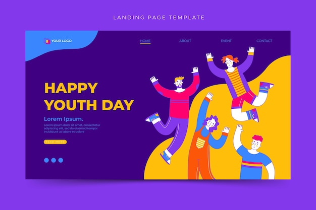 Happy international youth day landing page template