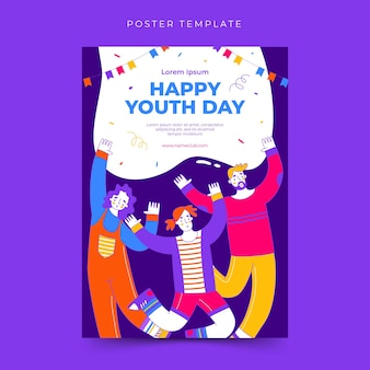 Happy international youth day poster template