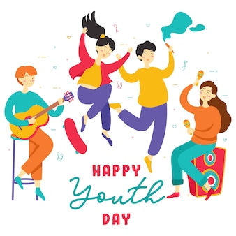 Happy international youth day. teen people group of diverse young girls and boys together holding hands, play music, skate board, party, friendship