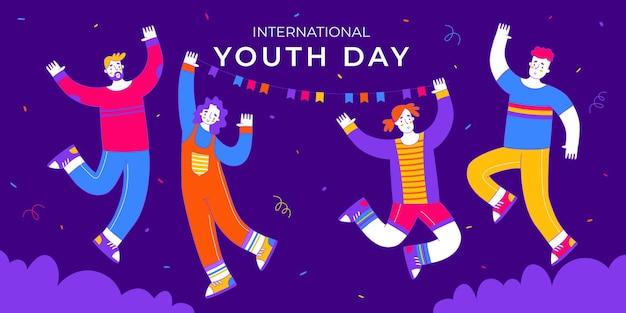 若い男の子と女の子のジャンプイラストベクトルと幸せな国際青少年デー