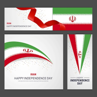 Happy iran independence day banner and background set
