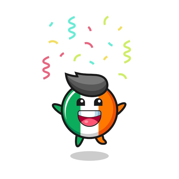Happy ireland flag badge mascot jumping for congratulation with colour confetti , cute style design for t shirt, sticker, logo element
