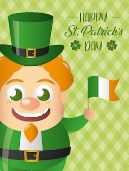 Leprechaun felice irlandese con una bandiera della cartolina d'auguri dell'irlanda