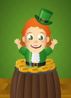 Happy irish leprechaun with green hat in cauldron, st patricks day