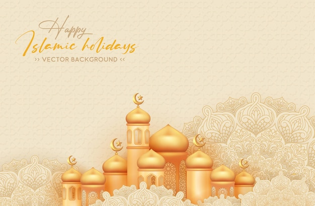 Happy islamic holidays background with with golden mosque