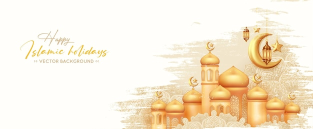 Happy islamic holidays banner with with golden mosque