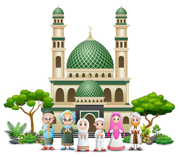 Happy islamic kids cartoon playing in front of a mosque