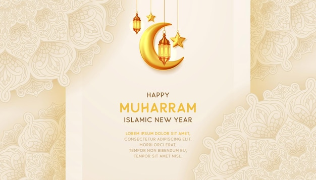 Happy islamic new year background with with hanging lantterns