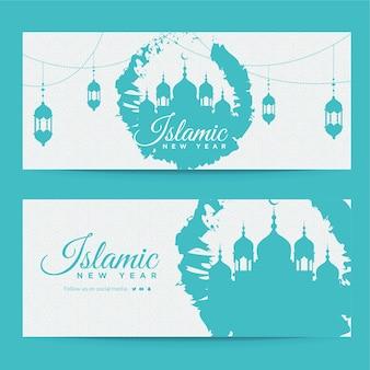 幸せなイスラムの新年のバナーデザインテンプレート