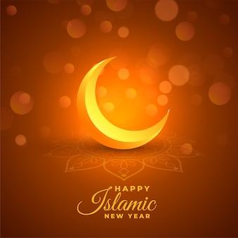 Happy islamic new year glowing bokeh background