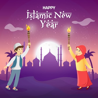 幸せなイスラム新年のベクトル図です。月、星、モスクでイスラムの新年を祝うトーチを握っているかわいい漫画のイスラム教徒の子供たち。