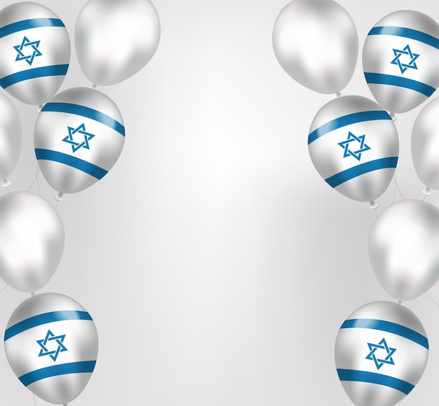 Happy israel independence day greeting card in realistic style with israel flag balloons