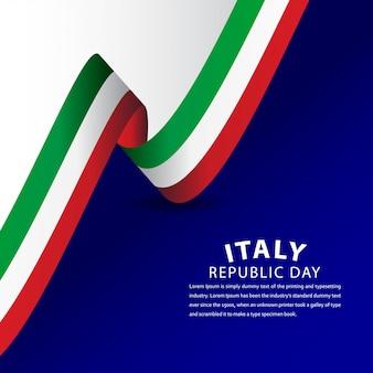 Happy italy republic day celebration template design illustration