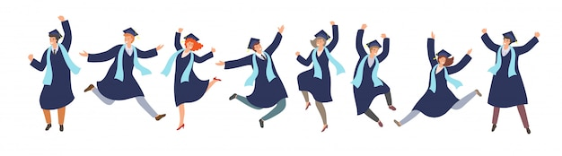 Happy jamping graduated students in graduation gowns in cartoon style . successful graduation ceremony, education concept.