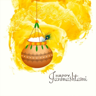 Happy janmashtami background with hanging pot