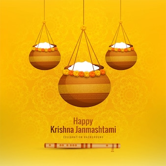 Happy janmashtami background with hanging pots