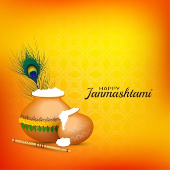 Happy janmashtami celebration religious background