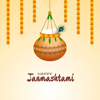 Happy janmashtami festival background with hanging pot