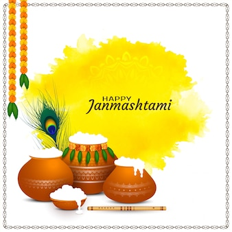 Happy janmashtami festival bright background