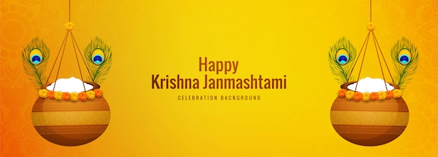 Happy janmashtami hanging pot banner