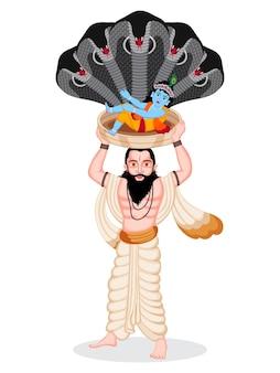 Счастливый индийский фестиваль джанмаштами персонаж младенца-лорда кришны и васудева