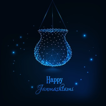 Happy janmashtami, indian festival dahi handi celebration greeting card template.