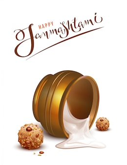 Happy janmashtami lettering text and overturned pot greeting card