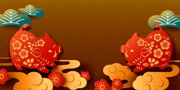 Happy japanese new year banner with paper cut style boar on bronze background