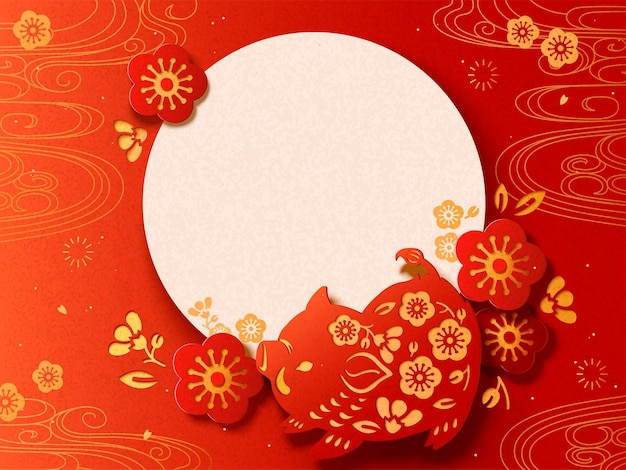 Happy japanese new year poster with paper cut style boar
