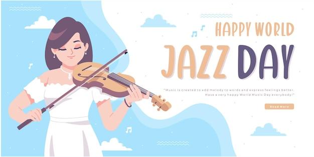 Счастливый день джаза концепция дизайн баннера