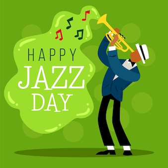 Happy jazz day flat design