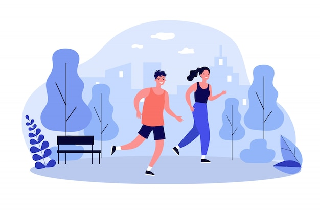 Счастливые бегуны, бегущие в парке с плоским векторная иллюстрация